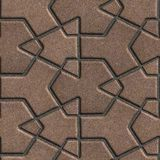 Brown Paving Slabs Built of Crossed Pieces a Royalty Free Stock Photography