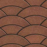 Brown Paving Slabs Laid as Semicircle. Stock Image