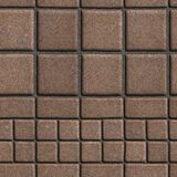Brown Paving Slabs Lined with Squares of Different. Value and Rectangles. Seamless Tileable Texture Royalty Free Stock Image