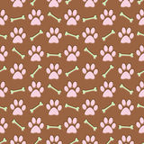 Brown paw print background. Brown paw print and bone repeating background vector illustration