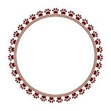 Brown paw prints animal round frame vector image Royalty Free Stock Images