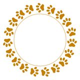 Round frame with animal paw prints vector image. Royalty Free Stock Photo