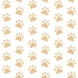 Brown paw prints. vector seamless pattern. White background Stock Photography