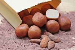 Brown Peanut and Potatoes from Brown Paper Bag Stock Image