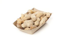 Brown Peanuts. Shelled Brown Peanuts against a white background Royalty Free Stock Photo