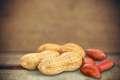 Brown peanuts. Plant shell closeup leaves isolated green Stock Photography