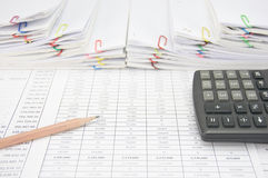 Brown pencil on finance account have step paperwork Stock Photos