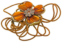 Brown pendant, coulomb flower on white Royalty Free Stock Images