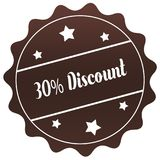 Brown 30 PERCENT DISCOUNT stamp on white background. Illustration Royalty Free Stock Photos