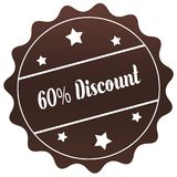 Brown 60 PERCENT DISCOUNT stamp on white background. Royalty Free Stock Image
