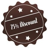 Brown 75 PERCENT DISCOUNT stamp on white background. Illustration Royalty Free Stock Photo