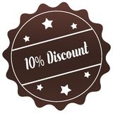 Brown 10 PERCENT DISCOUNT stamp on white background. Stock Photo