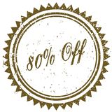 Brown 80 PERCENT OFF grunge stamp. Illustration image concept Stock Image