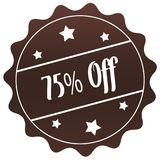 Brown 75 PERCENT OFF stamp on white background. Illustration stock illustration