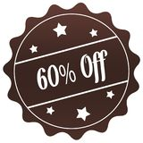 Brown 60 PERCENT OFF stamp on white background. Illustration stock illustration