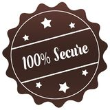 Brown 100 PERCENT SECURE stamp on white background. Illustration stock illustration