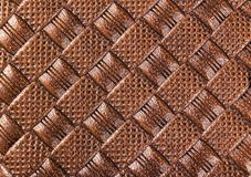Brown perforated leather texture. Close up shot. Leather background. Macro shot. The look of genuine leather. Leather pattern with royalty free stock images