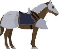 Brown-Pferd in der Rüstung Stockbild