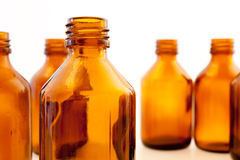 Brown pharmaceutical bottles Stock Images