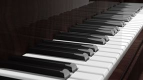 Brown piano keys side view Stock Photos