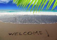 Brown piaska plaża z pisać słowa powitaniem Obraz Royalty Free