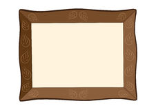 Brown picture frame with leaf ornament Royalty Free Stock Photo