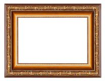 Brown picture frame with pattern isolated on a white. Brown picture frame with floral pattern isolated on a white background stock photos