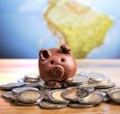 Brown piggy bank Stock Photo