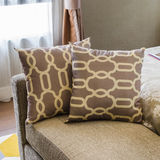 Brown pillow in luxury bedroom royalty free stock photos
