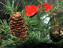 Brown pine cone. christmas toys on new year tree background. Stock Photo