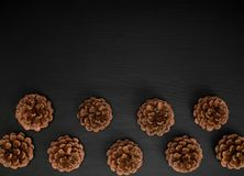 Brown pine cones on a black wooden background Royalty Free Stock Photo