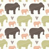 Brown Pink and Green Elephant Silhouette Seamless royalty free illustration