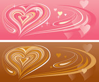 Brown and pink hearts Stock Photography