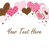 Brown and Pink Hearts Border Stock Photo