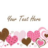 Brown and Pink Hearts Border. A pattern of pink and brown hearts with space for text stock illustration