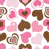 Brown and Pink Hearts Pattern. A pattern of pink and brown hearts royalty free illustration