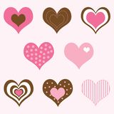 Brown and Pink Hearts Set Stock Photos