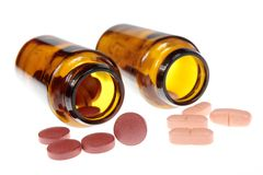 Brown and pink pills Stock Photography