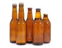 Brown piwne butelki Obrazy Royalty Free