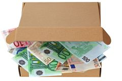 A brown pizza box with Euro banknotes Stock Images