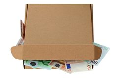 A brown pizza box with Euro banknotes Stock Image