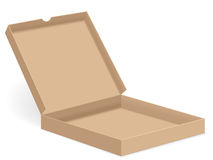 Brown pizza box open Royalty Free Stock Photo