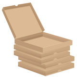 Brown pizza boxes Stock Photography