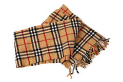 Brown plaid scarf on white background Stock Photo