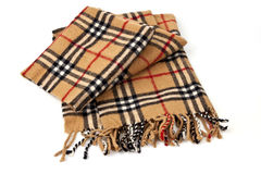 Brown plaid scarf on white background Royalty Free Stock Photos