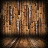 Brown  planks finishing on interior backdrop Royalty Free Stock Images