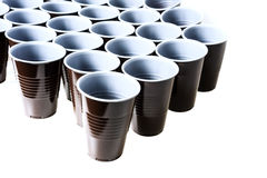Brown plastic cups. Brown platic cups white background Stock Photo