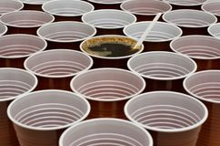 Brown plastic cups stock photos