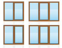 Brown plastic transparent window view indoors and outdoors vector illustration. On white background stock illustration