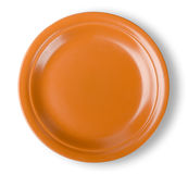 Brown plate. On white background. Clipping Path Stock Photo